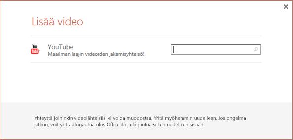 Tämä on PowerPoint 2013:n Lisää online-video -valintaikkuna.