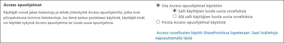 Näyttökuva Access-sovellusasetuksista SharePoint-hallintakeskus-sivulla