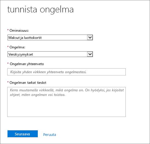 Anna ongelman kuvaus-sivulla Office 365: n Admin Center Service Request-lomakkeessa.