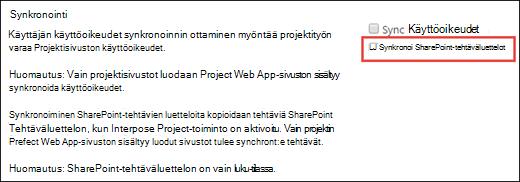 Synkronoi SharePoint-tehtäväluettelot