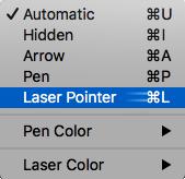 Valitse laser osoitin ponnahdus valikosta