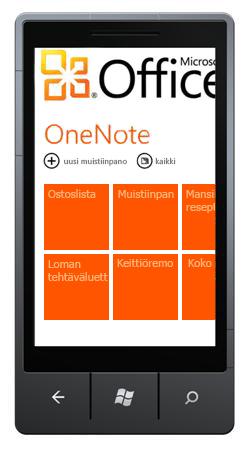 OneNote Mobile 2010-toiminnossa