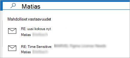 Näyttää sähköpostiehdotuksia