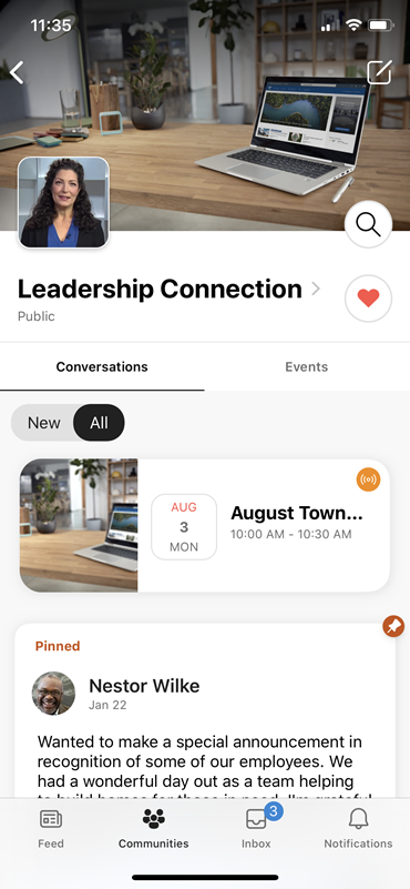 Näyttö kuva, jossa näkyy live-tapahtumien Yammer Mobile-ryhmän banneri