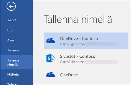 Word-asiakirjan tallentaminen OneDrive for Businessiin