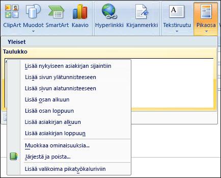 Outlook 2007:n pikaosien muokkaus