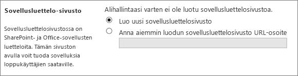 Sovellushakemiston sivuston valintaikkuna, jossa Luo uusi sovellushakemiston sivusto on valittuna.