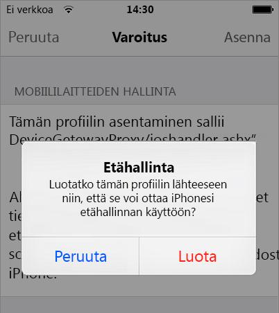 iPhonen etähallinnan merkitseminen luotetuksi
