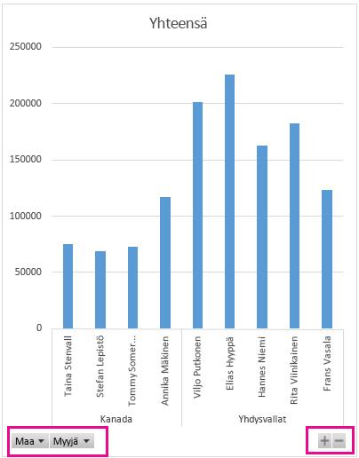 Pivot-kaavio, jossa on suodatinpainikkeet ja zoomaussäätimet