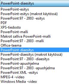 Tallenna esitys PowerPoint-esityksenä.