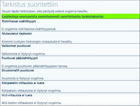 Sivustokokoelman kuntotietojen tarkistuksen tulokset
