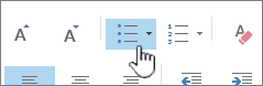 Outlookin luettelomerkki- ja numeropainikkeet