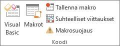 Excelin Kehitystyökalut-välilehden Koodi-ryhmä