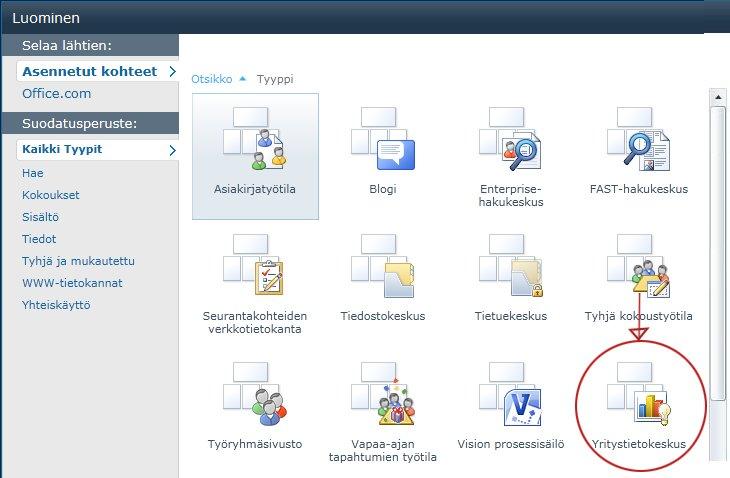 Luo sivusto -valikoima sisältää useita valmiita sivustomalleja.