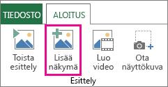 Näkymän lisääminen Power Map -esittelyyn