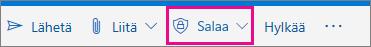 Outlook.com-valintanauha, jossa salaa-painike korostettuna