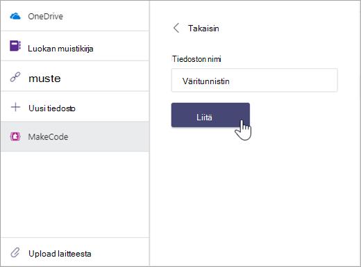 MakeCode-tiedoston nimeämisen ja Microsoft Teamsin tehtävään liittämisen valintaikkuna