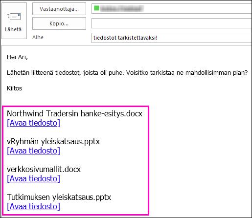 Lisää tiedostojen linkit sähköpostiviestiin.