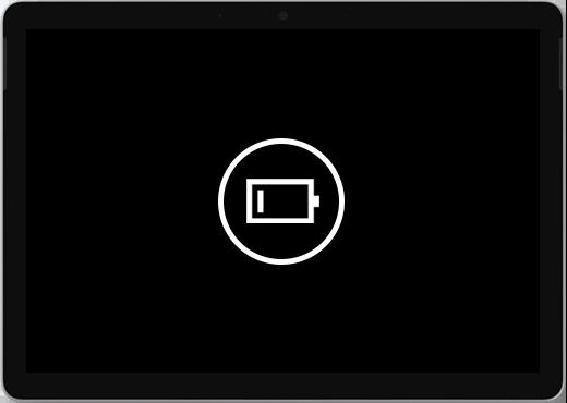 Musta näyttö, jossa on akun vähissä -kuvake.