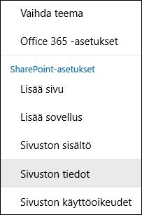 Näyttökuva SharePoint-sivuston Tiedot-valikkovaihtoehdosta.