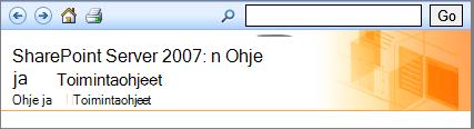 SharePoint 2007: n Ohje-ruudussa otsikko