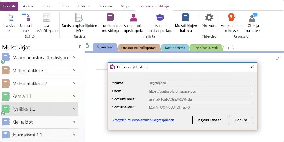 Näyttökuva luokan OneNote-muistikirja-apuohjelman yhteydet-valintaikkunasta käytössä ryhmäkäytännön avulla.