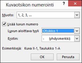 Lisää kuvateksteihin lukunumerot kuvatekstin numeroinnin valintaikkunassa.