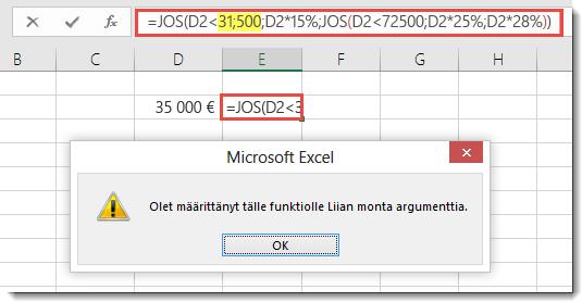 Excel-viesti, kun lisäät arvoon pilkun