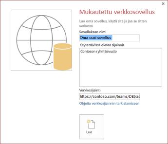 Uuden mukautetun verkkosovelluksen valintaikkuna, jossa näkyy Contoso-ryhmäsivusto Käytettävissä olevat sijainnit -ruudussa.