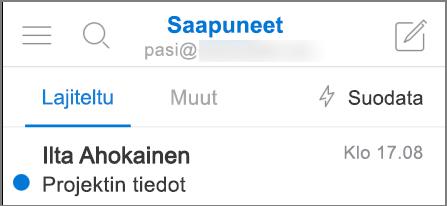 Kuva siitä, miltä Outlook näyttää iPhonessa.