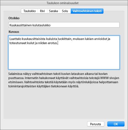 Näyttökuva Taulukon ominaisuudet -ruudun vaihtoehtoisen tekstin välilehdestä, joka kuvaa valittua taulukkoa