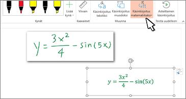 Käsinkirjoitettu yhtälö ja sama yhtälö muunnettuna muotoilluiksi tekstiksi ja numeroiksi