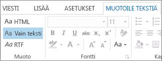 Muotoile tekstiä -välilehden viestin muotoiluasetukset