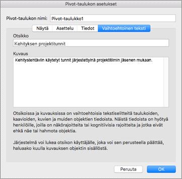 Excelin Pivot-taulukon Vaihtoehtoinen teksti -valintaikkuna.