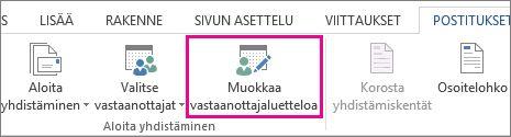 Näyttökuva Wordin Postitukset-välilehdestä, jossa Muokkaa vastaanottajaluetteloa -komento on korostettuna.