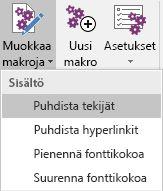 Muokkaa makroja -valikko Onetastic for OneNotessa