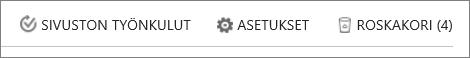 Roskakori-painikkeen näkymä Sivuston sisältö -kohdassa.