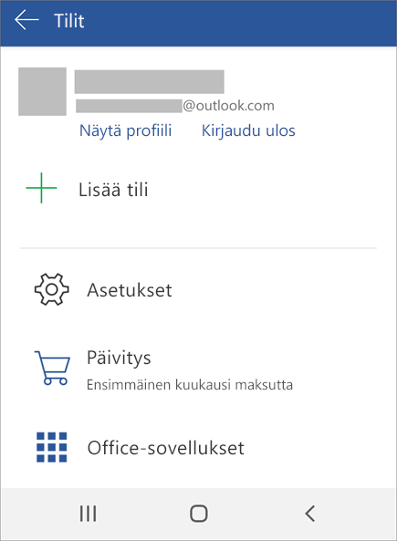 Näyttää Kirjautuminen ulos Officesta -vaihtoehdon Android-laitteessa