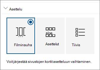 Sivustojen WWW-osan asetteluasetukset