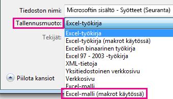 Valitse Excel-malli (makrot käytössä).