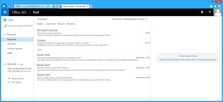 Tuotuasi sähköpostin PST-tiedostosta se näkyy myös OWA-sovelluksessa