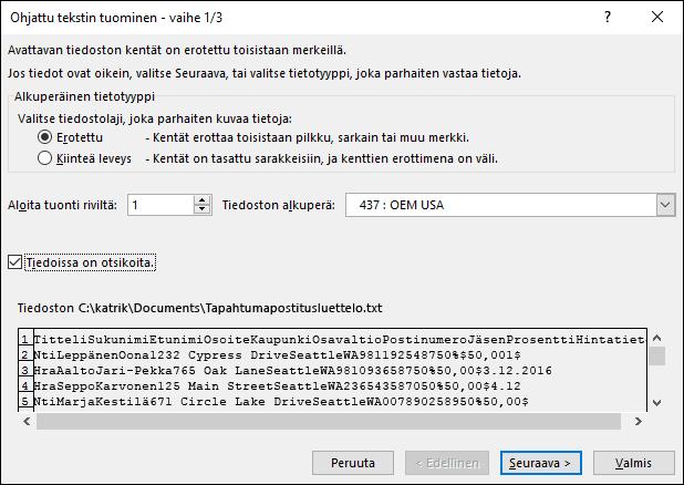 Excelin ulkoisten tietojen hankkiminen tekstistä, ohjatun tekstin tuomisen vaihe 1/3