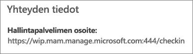 Hallinnoija-sivulla näytetään yhteystietojen URL-osoite, joka sisältää mam- ja wpi-sanat.