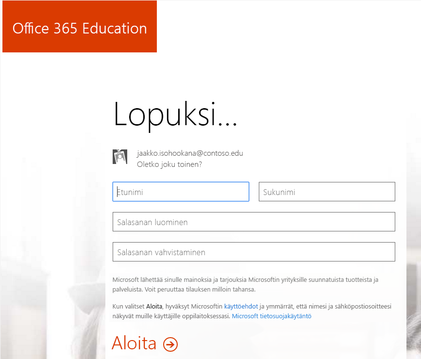 Näyttökuva Office 365: n rekisteröitymisen aikaisesta salasanan luontisivusta.