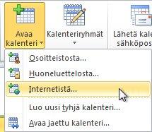 Kalenterin avaaminen valintanauhan Internetistä-komennolla