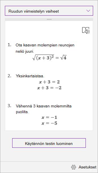 Matemaattisen avustajan tehtävä ruudun ratkaisu vaiheet