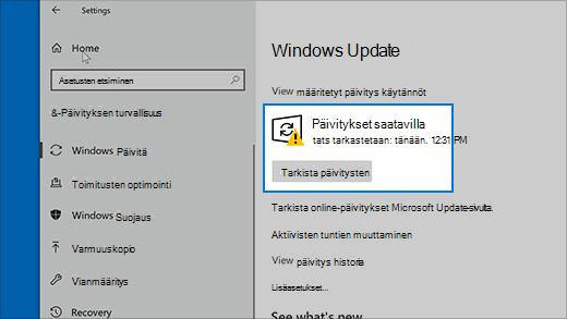 Tarkista päivitykset Windows 10:ssä