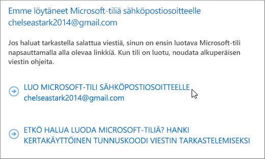 Microsoft-tilin luominen