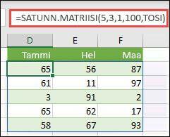 SATUNN.MATRIISI-funktio, jossa on minimi-, maksimi- ja kokonaislukuargumentit