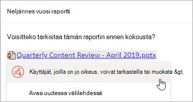 Näyttökuva linkin linkistä OneDrive tiedostoon